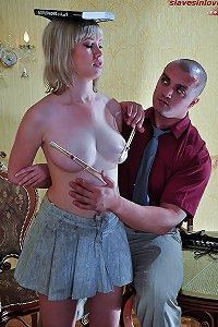 Big tit blonde slave girl endures harsh slave trainin