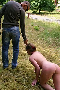 Slave girl trained outdoor