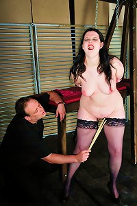 Brunette gets her body covered with clothespins and she also gets whipped