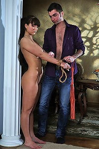 Slavegirl  submits to bondage and gets fucked
