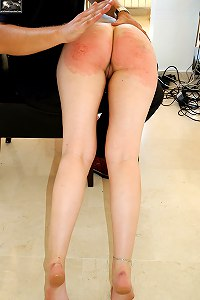 Spanked otk naked and ashamed - bright scarlet buttocks