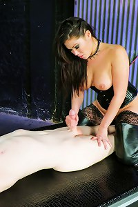 Mistress London Keyes takes her sex slave out of chastity and uses him for an orgasm.