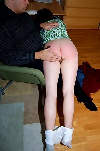 Gorgeous innocent young miss is brutally spanked on her soft bare ass
