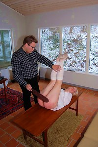 Diaper position for a hot blonde schoolgirl getting the tawse