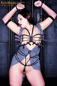 KenMarcus Sample Gallery Caged  Aria Giovanni - Breast Clothespins Bondage
