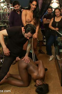 Kicked out of a building supply store, Tommy and Isis continue the interracial fuck-fest at a crowded head shop. Ana takes it all. multiple cum shots.