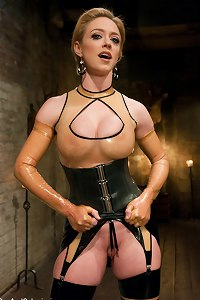 Frustrated gimp turns the tables and makes his hot latex dominatrix suffer through a lesson in submission, bondage, and ass-pounding.
