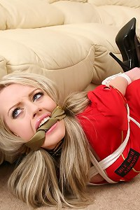 Secretary gagged and hog tied