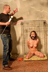 Sensuous slave gets bound and caged