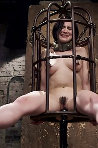 Hot big ass brunette caged and erotically tormented, orgasm control and denial, predicament blowjob stress position to earn a training collar