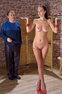 Petite slavegirl training session