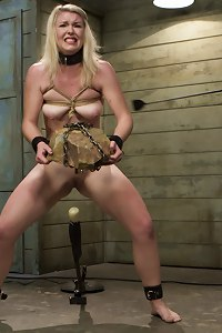 Hot Blonde slut trains to take hard cock. Humiliating dog tricks, stress positions, made to suck cock, reverse cow-girl fucking, anal slave training