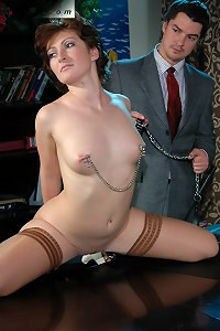 Chief attaches painful nipple clamps to his secretary girl