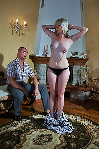 Blonde housewife made into obedient slave at spouse training