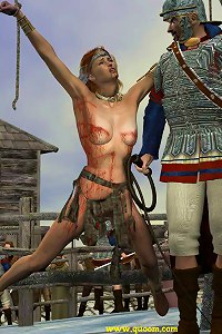 Women punished and crucified in a QUOOM world