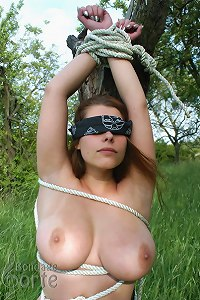 Voluptuous girl tied down in the countryside